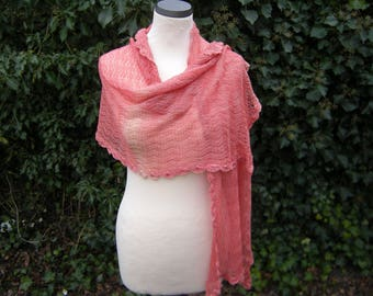 Lace scarf, knitted scarf, apricot, Farbverllauf, scarf, knitted