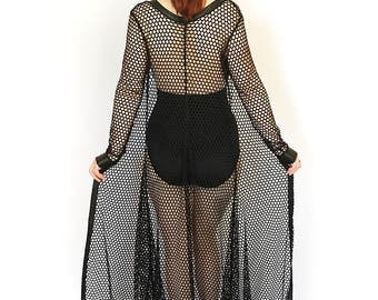 Fishnet Maxi Cardigan, Goth Beach Coverup, See Through Dress, Long Black Cardigan, Mesh Sweater, Gothic Long Robe, Gothic Lingerie