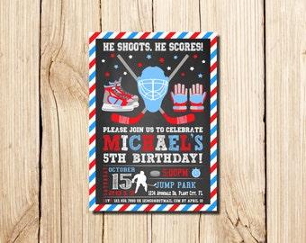 Hockey Invitation Hockey Party Hockey Birthday Tailgate