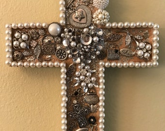 Silver and Pearl Jeweled Cross, Decorated Cross Wall hanging