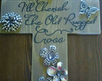 On a Hill Far Away Old wooden rugged jeweled cross wall hanging Mother's Day gift Baptism