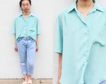 Vintage Teal Satin Button Up Blouse Silk