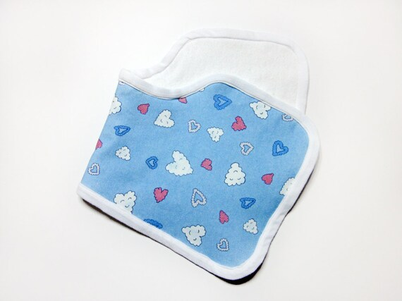 """Happy Clouds"" Organic Cotton Contoured Baby Burp Cloth"