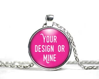 Custom Necklace, Round Pendant, Custom Photo Necklace, Custom Photo Jewelry, Glass Pendant Necklace
