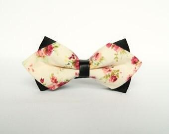 Men's floral peach diamond tip bow tie floral Pre-tied bow tie gift for men diamond tip wedding peach bow tie