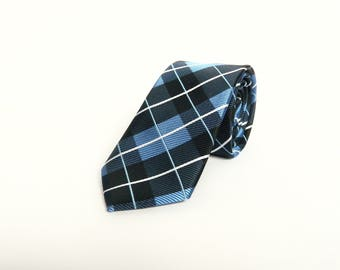 Men's blue plaid tartan tie wedding tie gift for men blue skinny plaid tie groomsmen