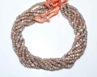 "1 Strand Natural Chocolate Moonstone AB Silver Coated Faceted Rondelle - Moonstone AB Silver Coated Beads, 4.75 mm, 13""- MC174V"