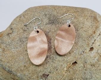Figured Maple Dangle Earrings - Oval