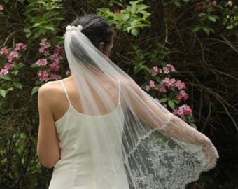 Bridal veil decorated comb lace flower - freshwater pearls-  bridal headpiece - silk tulle veil- boho wedding - thin french silk tulle
