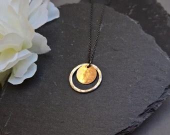 Silver circle necklace, gold circle pendant necklace, oxidised silver necklace with double pendant, gold pendant necklace, gift for her