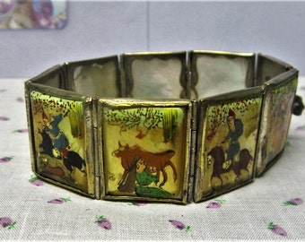 1940s Persian Hand Painted Storybook Bracelet Vintage Mother of Pearl Panels