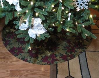 Christmas tree skirt, gold tree skirt, Xmas tree skirt, red tree skirt, elegant tree skirt, 40 inch tree skirt, poinsettia, holiday decor