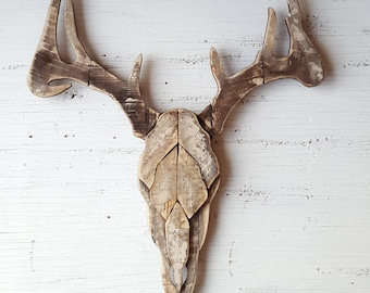 Faux Deer Antlers/ Reclaimed wood/ Rustic wall decor/ Rustic Home Decor/ Wood Deer Decor/ Reclaimed Wood Wall Art/ Reclaimed Wood Wall Decor