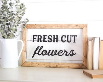 Fixer Upper Style Decor - Fixer Upper Style Gift for Her - Window Frame Sign - Floral Shop Decor - FRESH CUT FLOWERS - Fixer Upper Kitchen