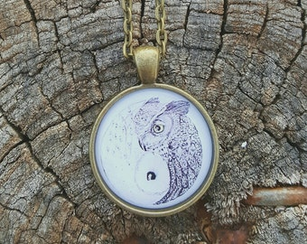 Yin Yang Owl necklace