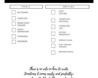 ON SALE! Novel Writing Checklist | Nanowrimo Worksheet | Digital Download