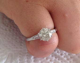 Certified 1.55 CT Round cut & Baguette cut Diamond engagement Ring 14k white gold  hand made
