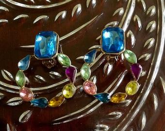 """Vintage Two Sisters """"Bejeweled"""" Hoop Earrings - Clips"""