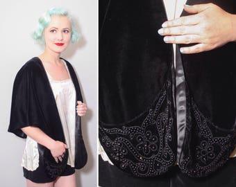 1950's Black Velvet Beaded Shawl With Pockets