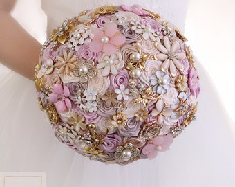 Brooch Bouquet Wedding Bouquet Bridal Bouquet Jewelry Bouquet Bridesmaids Bouquet Gold Bouquet Pink Bouquet Wedding Jewelry Wedding Dress