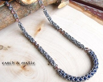 Blue Sodalite Copper Byzantine Chainmail Necklace,  Blue Gemstone, Stainless Steel Copper Chainmail Necklace, Byzantine Chainmaille Necklace