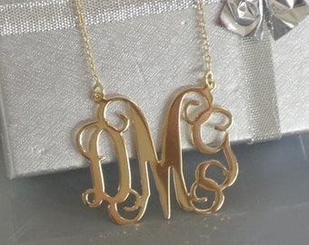 Monogram necklace, 2 Inch, Personalized Gift, Monogrammed Initial, Sterling Silver Initial, LARGE Silver Necklace, HUGE Monogram necklace