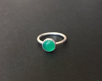 Sterling Silver Green Agate Ring