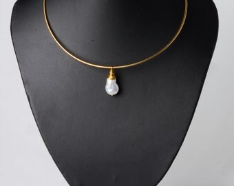 Oro Choker Pearl Pendant, Gold Tone Stainless Steel Choker Necklace, Copperwire-Wrapped Pearl