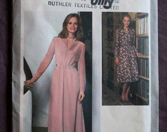 Misses V-Neck Long Sleeve Maxi Dress Evening Dress Boho Vintage 1970s Simplicity 8662 Jiffy Sewing Pattern Size 12 Bust 34 UNCUT and FF