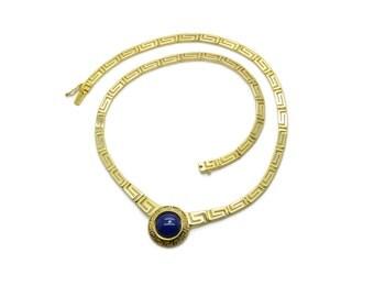 Lapis lazuli Greek Meander Necklace Gold , 14K Solid Gold Necklace, Greek Key Necklace, Yellow Gold Necklace, Greek Necklace Jewelry