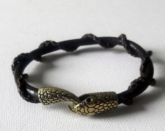 Snake braided leather cuff, Soft leather bracelet with snake closure in copper color