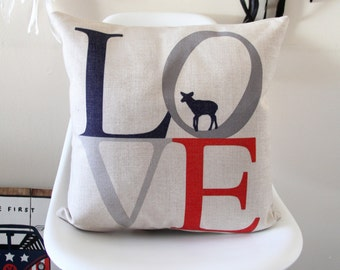 Love Text Pillow Cover, Decorative Pillow Cover, Throw Pillow, Pillow Cushion, Sofa Pillow, House Warming, Cushion Cover