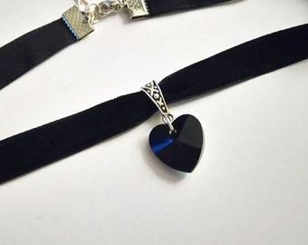 Heart Choker Black | Velvet Choker | Choker Necklace | Choker Chain Black | Choker Velvet