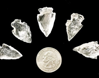 5 Clear Quartz Crystal Arrowheads - AA Quality - Chakra, Crystal Healing, Crafts, Art, Jewelry Making, Wire Wrapping