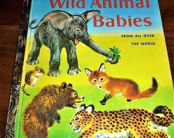 "Vintage 1976 Book ""Wild Animal Babies"" by Kathleen Daly - A Little Golden Book / Illustrated by Feodor Rojankovsky"