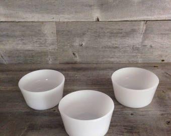 Set of 3 Vintage Glasbake Milk Glass Ramekins | Custard Cups | Condiment Cups