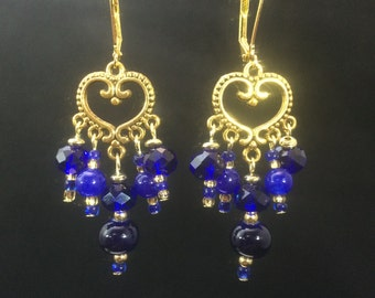Gold Hearts with Blue Drops Leverback Chandelier Earrings