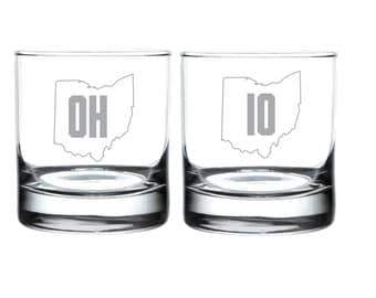 OH IO - Ohio State Buckeyes Laser Etched Glassware