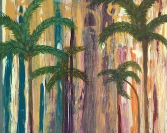 Palm trees acrylic painting