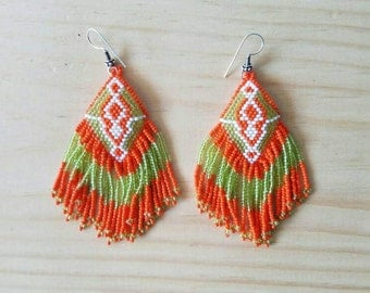 Orange seed bead earrings, huichol earrings, Tribal earrings, beaded earrings, duster earrings, native American earrings, chandelier