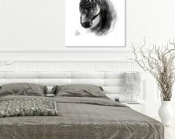 Horse head print // A4 horse print // horse head painting // equine art print // equestrian art print // horse art print // horse decor