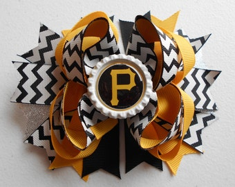 MLB Pirates Handmade Boutique Layered Hair Bow