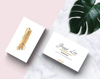 Gold Business Card Template / business card design / Small business branding / Feminine, fully customizable, printable