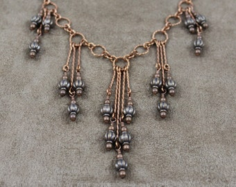 Copper Chain Necklace And Earrings