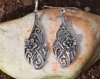 Floral Sterling Silver Dangle Earrings
