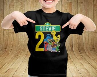 Sesame Street Elmo Cookie Monster Personalized Custom Birthday Bday Kid Shirt for Boy or Girl