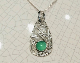 Sterling necklace, sterling silver necklace, sterling chrysoprase necklace, small pendant, sterling pendant, gift for her, unique necklace