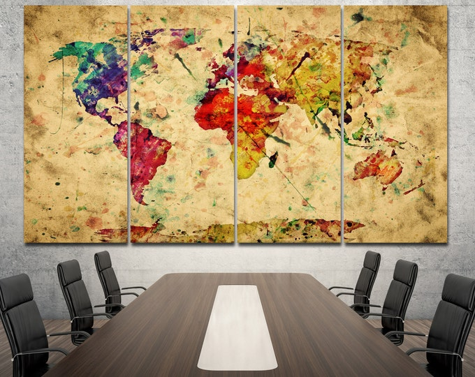 Large Colorful Vintage Watercolor Motley World Map Canvas Set of 1,2,3,4 or 5 Panels World map Canvas Wall Art for Home & Office Decoration