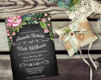 Watercolour wedding invitation kits, vintage wedding invitation pack, vintage invitations, DIY wedding invitations printed, wedding card, A5