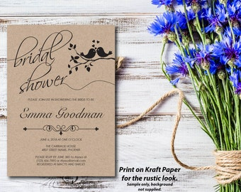 Bridal Shower Invitation, Shower Invite, Love Birds, Doves, Rustic, White, Kraft Paper, Editable PDF, DIY, Printable, Instant Download E26A